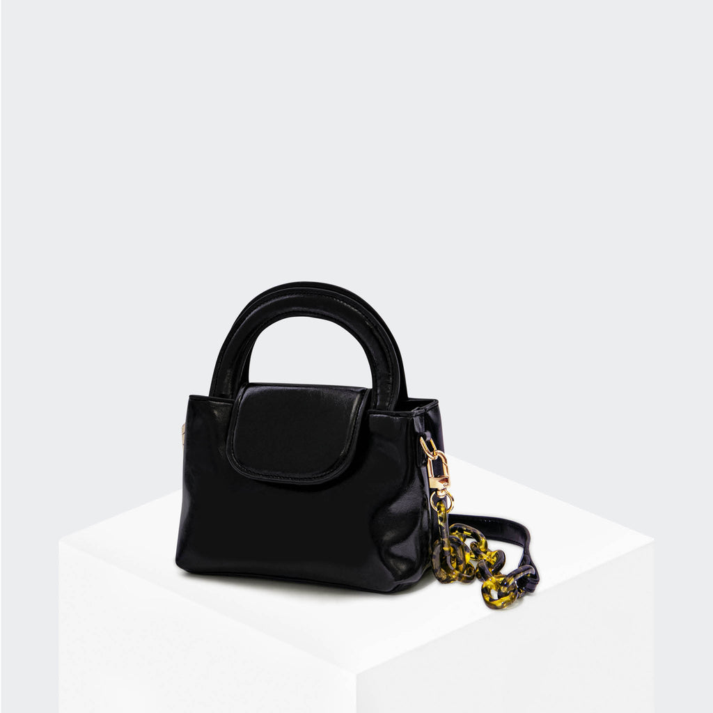 "HOUSE OF WANT ""Snack"" Mini Top Handle Crossbody Black Glaze - front"