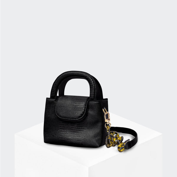HOUSE OF WANT SNACK Mini Top Handle Crossbody Black Lizard - front