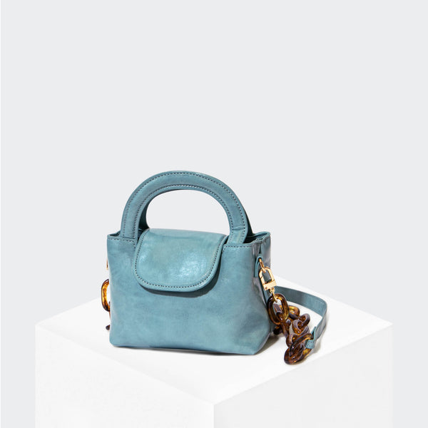 HOUSE OF WANT SNACK Mini Top Handle Crossbody Cadet Blue - front