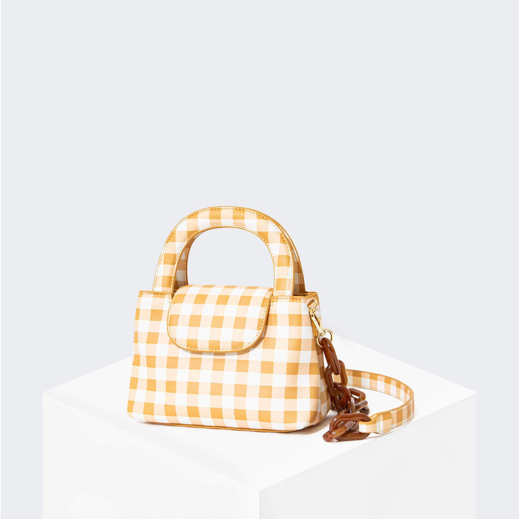 "HOUSE OF WANT ""Snack"" Mini Top Handle Crossbody Gingham - front"
