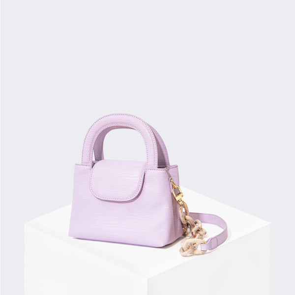 "HOUSE OF WANT ""Snack"" Mini Top Handle Crossbody Lavender Lizard - front"