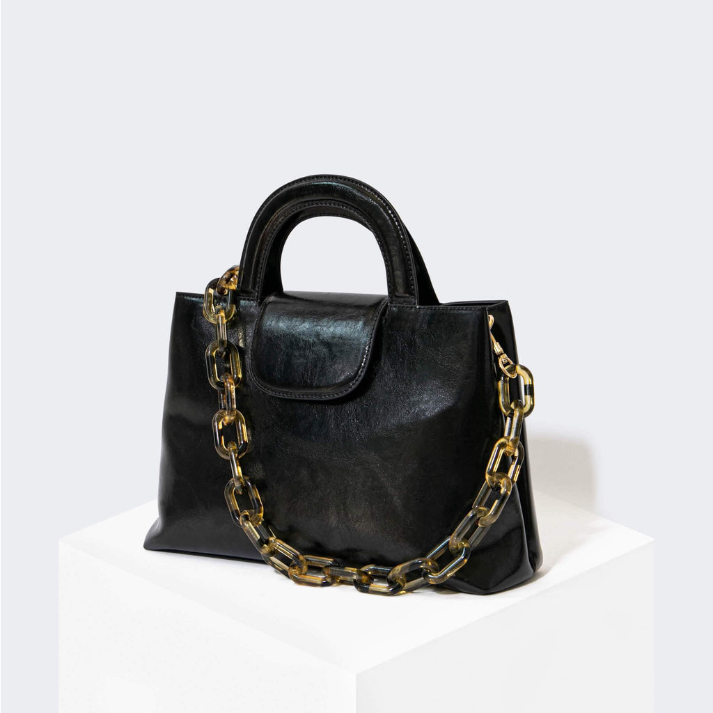 "HOUSE OF WANT ""Snack"" Top Handle Satchel Black Glaze - front"