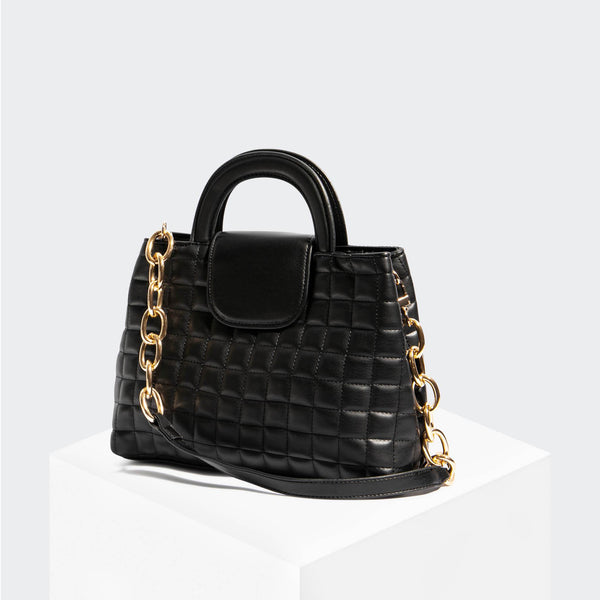 House Of Want SNACK Top Handle Satchel Black Quilted - front