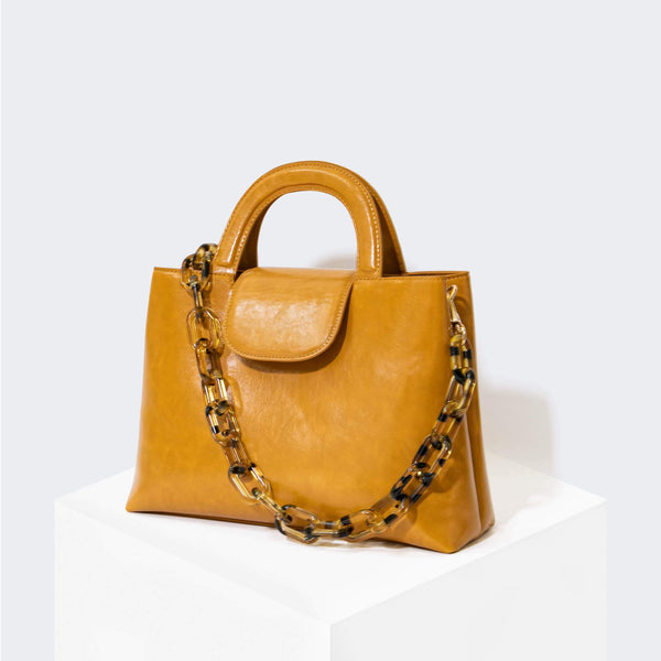 HOUSE OF WANT SNACK Top Handle Satchel Golden Yellow - front