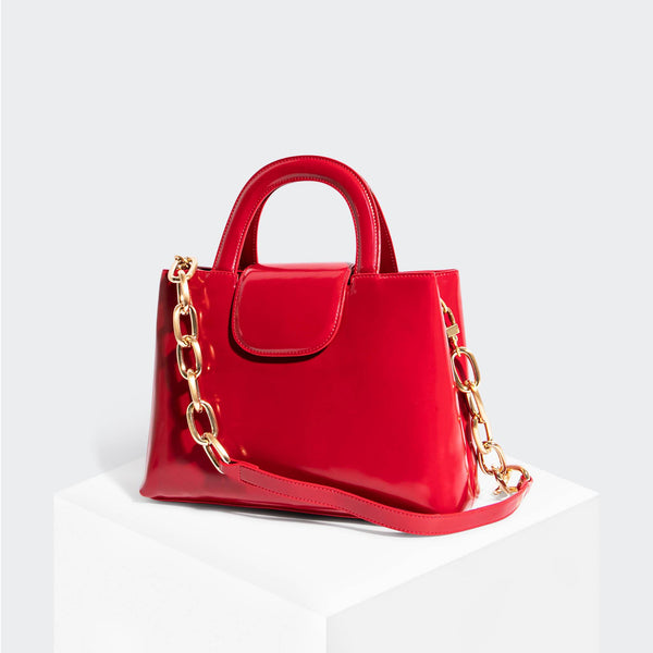 House Of Want SNACK Top Handle Satchel Red - front