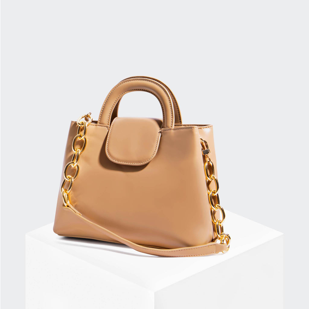 "House Of Want ""Snack"" Top Handle Satchel Tan Box Calf - front"