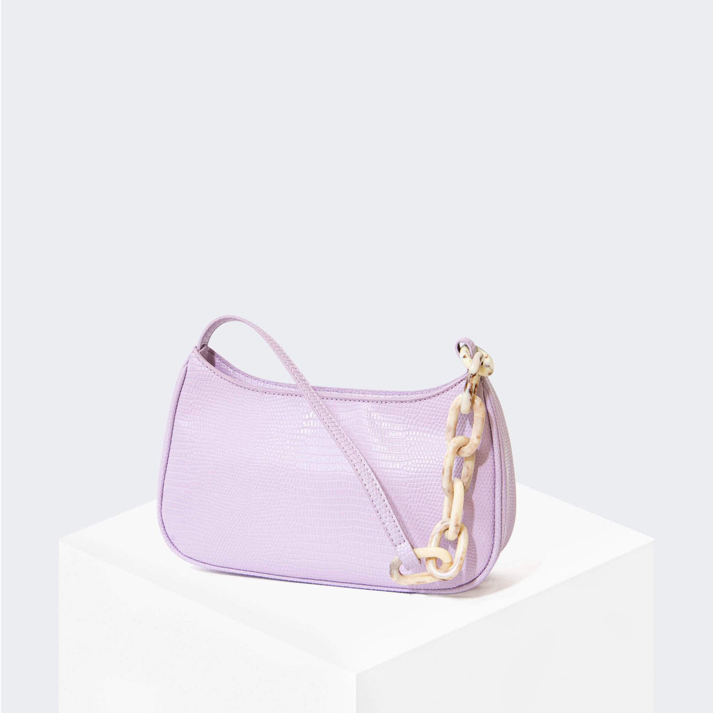 "HOUSE OF WANT ""Newbie"" Baguette Lavender Lizard - front"