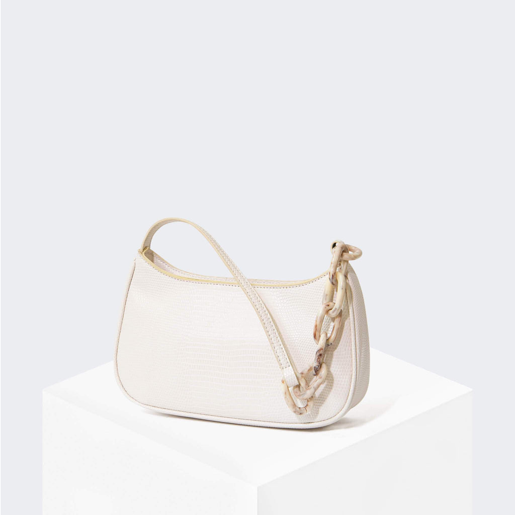 "HOUSE OF WANT ""Newbie"" Baguette White Lizard - front"