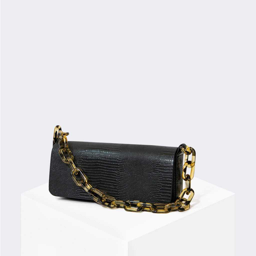 "HOUSE OF WANT ""Newbie"" Pouchette Black Lizard - front"