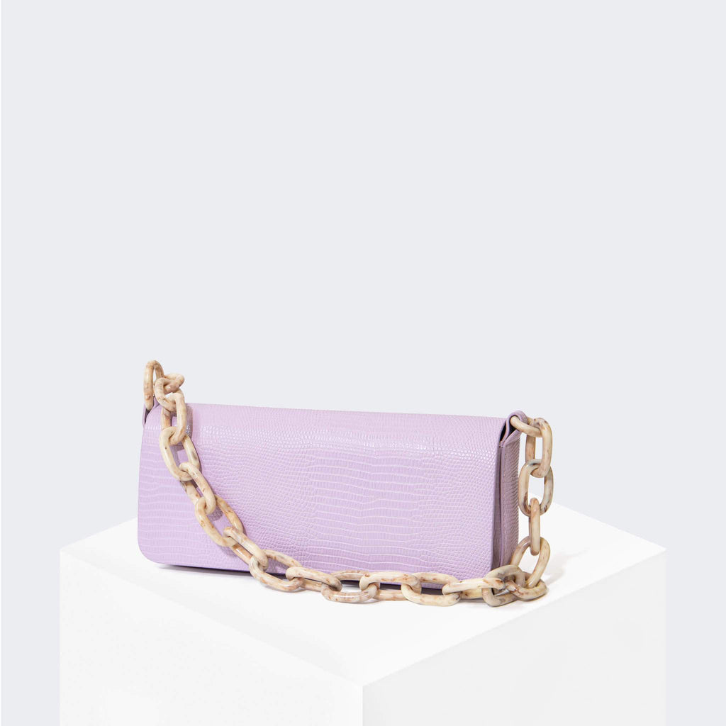"HOUSE OF WANT ""Newbie"" Pouchette Lavender Lizard - front"
