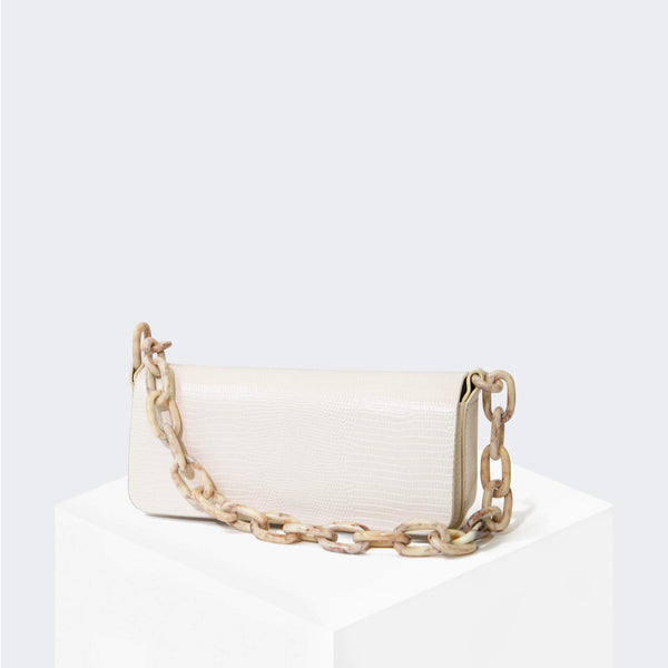 "HOUSE OF WANT ""Newbie"" Pouchette White Lizard - front"