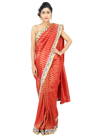 Deep red and Gold Brocade silk saree with royal blue pearl and Thread work border