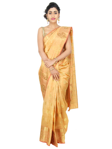 Mustard Gold Kota Silk Saree with leaf motifs on  zari border and circular motifs throughout