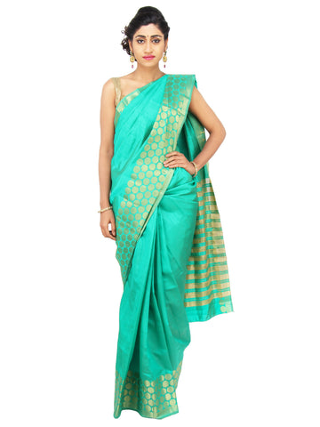 Turquoise Blue bhagalpuri Silk Saree with circular designed golden broad border and striped pallu