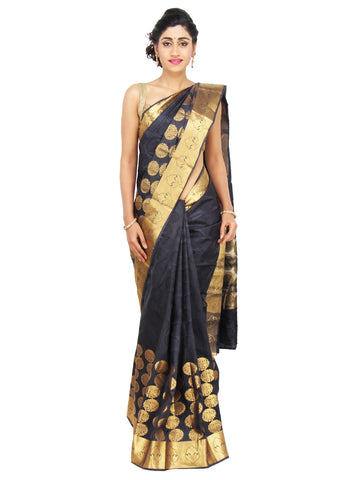 Black and Gold Banarasi Silk Saree with knee-heigh golden circular motifs and solid zari border