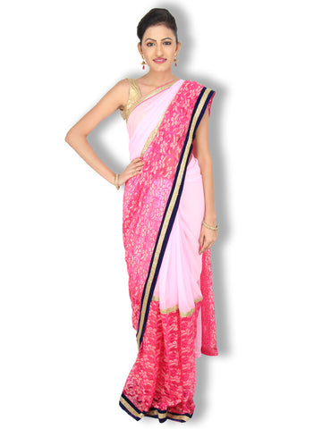 Baby pink georgette and lace saree with top bottom division and flat sequin work on border