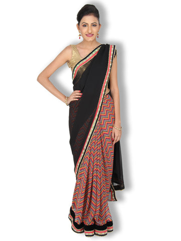 Black and Orange georgette saree with geometric printed pleats and pearl work border