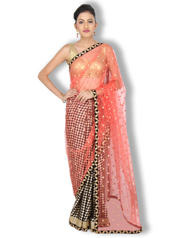 Black and Orange satin/net saree with golden buttas and checks pattern