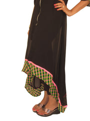 Black Georgette High Low Tunic with Chex Patterned Hemline and Centre Zip - Sweta Sutariya - 3