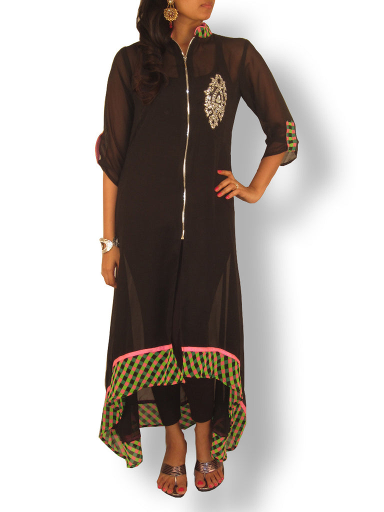 Black Georgette High Low Tunic with Chex Patterned Hemline and Centre Zip - Sweta Sutariya - 1