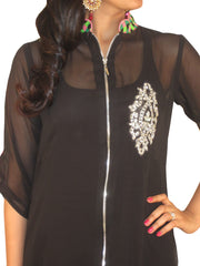 Black Georgette High Low Tunic with Chex Patterned Hemline and Centre Zip - Sweta Sutariya - 2