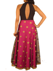 Black Halter Look Fusion Gown with Pink Silk/Net  Flare with Gota Work - Sweta Sutariya - 2