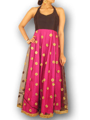 Black Halter Look Fusion Gown with Pink Silk/Net  Flare with Gota Work - Sweta Sutariya - 1