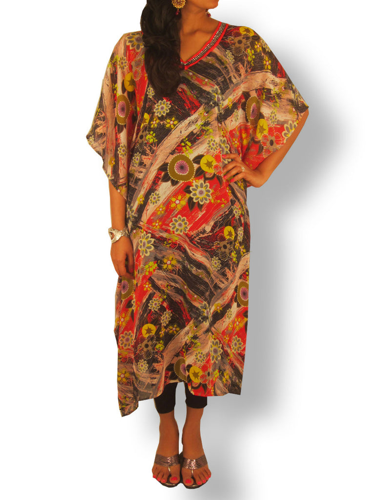 Black Red Abstract Printed Kaftan with Black Sequin Neckline - Sweta Sutariya