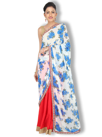Blue and white floral georgette saree with red raw silk pleats and pearl work border
