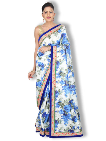 Blue white floral printed raw silk saree with red pearl work border