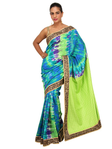 Blue Green Tie and Dye Raw Silk Saree with Sequin work border