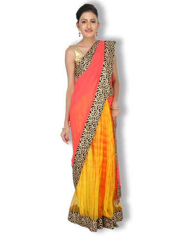 Candy Red and Yellow Kota Silk Georgette half and half saree with black zari work border