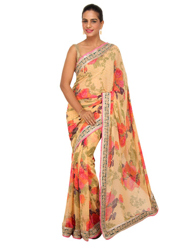 Creme Floral Printed Georgette Saree with Green Pearl work border