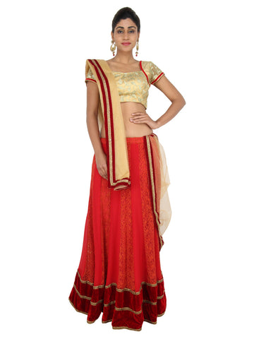 Deep Red Georgette Lehenga with golden embroidered choli and Golden Net dupatta