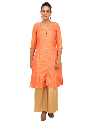 Fire Orange Brocade Kurta with Front Embellished Buttons