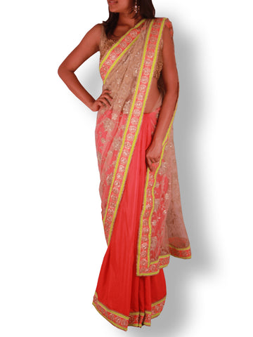 Gold Embroidery & Sequin work Net Saree with Red Silk Pleats