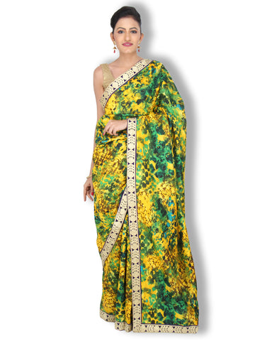 Green and Yellow blot print bhagalpuri silk saree with zari laced cutwork border