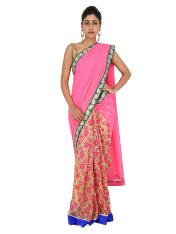 Half and Half Pink gold saree with golden heavy embroidered pallu in floral motifs