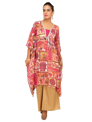 Indian Folk Print Georgette Kaftan with Beaded Neckline