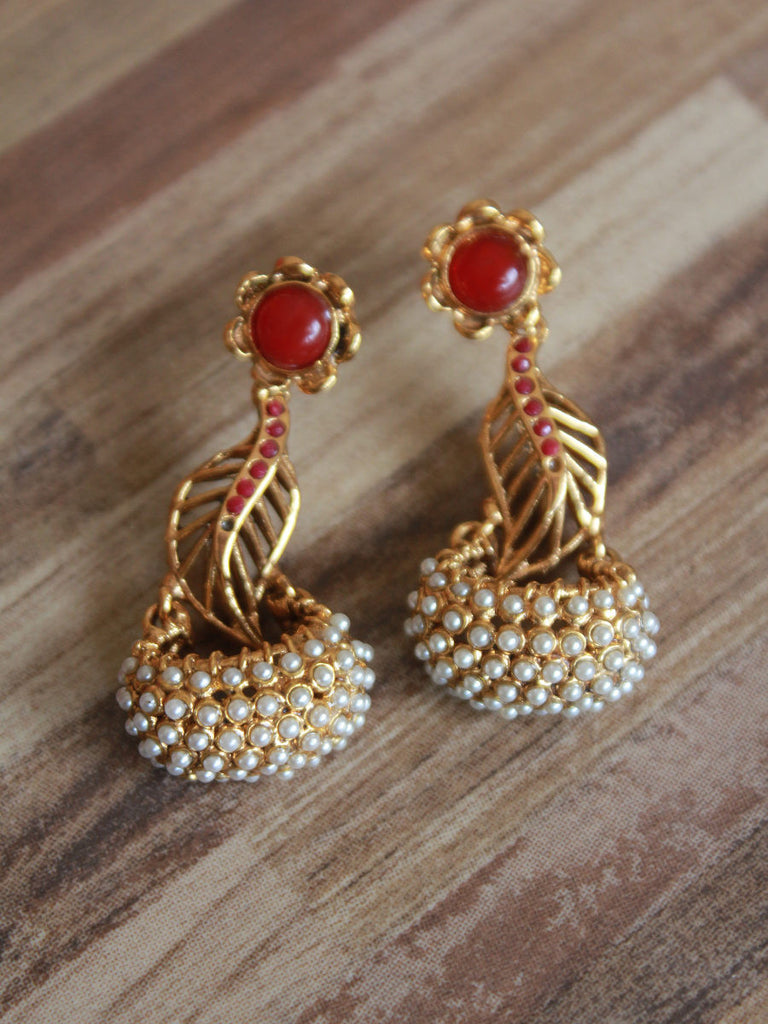 with beads work earrings kundan pin jewelry and ethnic polki carved hyderabad stone