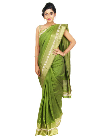 Mehendi Green Bhagalpuri Silk saree with pearl and stone work cutwork border on Golden zari base