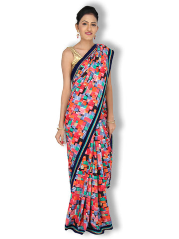 Multicolor abstract print cotton satin saree with blue velvet border