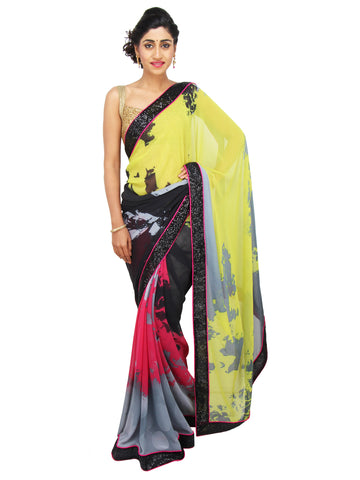 Multicolored abstract print Georgette saree with black sequin border