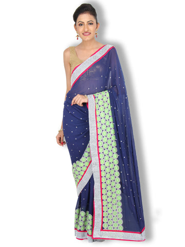 Navy blue pure georgette saree with green floral embroidery and silver border