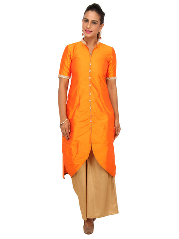 Orange Fish cut Kurta with Pearl work collar and Front buttoned