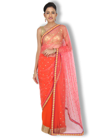 Orange Pink half and half saree with stone work buttas on pink net pallu and orange georgette pleats