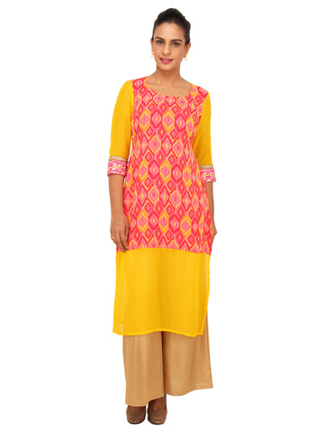 Peach and Yellow Georgette Kurti with Geometric print