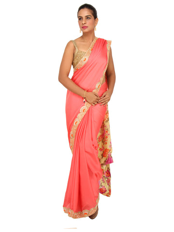 Peach Satin Georgette saree with Yellow floral printed pallu and mirror work border