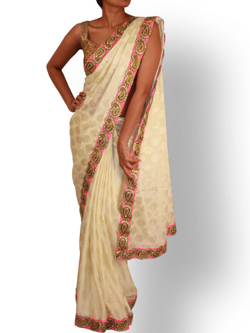 Pearl white and Gold Silk saree with Kundan work