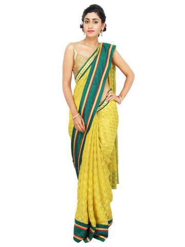 Pineapple Yellow Georgette saree with Golden Buttas and Peacock Green Raw Silk border